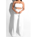Summer Sexy Bandeau Top with Paperbag Waist Wide Leg Pants Solid Color Two Piece Set