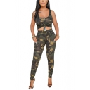 Trendy Sleeveless Knotted Front with Elastic Waist Pants Skinny Fit Camo Two Piece Set