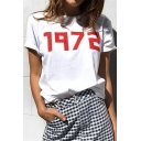 Hip Hop Style Short Sleeve Round Neck 1972 Letter Printed Cotton T Shirt for Couple
