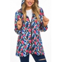 Womens Fancy Floral Printed Hooded Long Sleeve Zip Up Windbreaker Coat