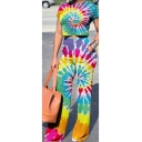 Womens Chic Colorful Tie Dye Painting Short Sleeve Crop Tee with Fitted Pants Two-Piece Co-ords