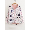 Girls Cute Allover Cartoon Cat Face Printed Long Sleeve Zip Up Hooded Coat
