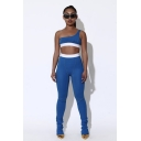 Womens Fashion One Shoulder Crop Tank Top with Slim Pants Sport Yoga Two-Piece Co-ords