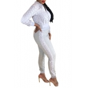 Womens Sexy Street Style Stand Collar Zip Up Jacket with Slim Fit Pants Two-Piece Co-ords