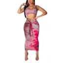 Womens Fashion Tie Dye Sexy Scoop Neck Crop Tank with Knotted Maxi Pencil Skirt Two-Piece Set