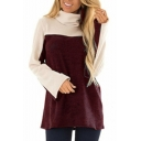 Trendy Two-Tone Colorblock Turtleneck Long Sleeve Loose Fit T-Shirt