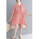 Womens Plus Size Fashion Red Pattern Dipped Hem Midi Chiffon Swing Dress