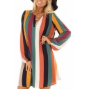 Rainbow Stripe Printed V-Neck Long Sleeve Mini Shift Dress