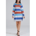 Stylish Stripe Pattern Round Neck Long Sleeve Mini Fitted T-Shirt Dress