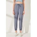 Trendy Simple Plain Drawstring Waist Elastic Cuff Sport Yoga Tapered Pants