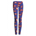 Hot Fashion Allover Red Lip Print Blue Fitness GYM Yoga Leggings