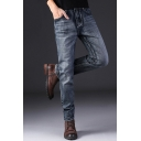 Men's New Fashion Simple Plain Stretched Slim Fit Washing Jeans