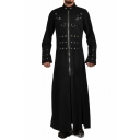 Men's New Trendy One Piece Plain Long Sleeve Stand-Collar Embellished Long Black Coats