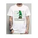 Guys Summer Fashion Frog Comic Print Round Neck Short Sleeve White T-Shirt