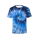 Summer New Stylish Short Sleeve Round Neck 3D Tie-dye Print T-Shirt For Men