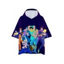 Mens Hot Popular Cartoon Figure Print Short Sleeve Hooded Casual Purple T-Shirt