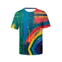 Summer New Trendy Painting Pattern Round Neck Short Sleeve Casual T-Shirt For Men
