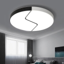 Minimalist Stylish Round Ceiling Light with Acrylic Shade LED Indoor Lighting Fixture in Black and White