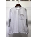 Men's New Design Reflective Strip Patched Pocket Embellished Casual Cotton Sweatshirt