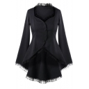 Womens New Stylish Chic Lace-Trimmed Bell Long Sleeve Button Down Slim Fit Black Swallowtail Coat