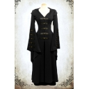 Womens Vintage Cosplay Costume Bell Long Sleeve Hooded Maxi Swing Dress