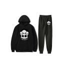 Funny Storm Area Alien Pattern Loose Fit Hoodie with Sweatpants Sport Two-Piece Set