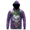 New Fashion Cool Joker 3D Printed Long Sleeve Loose Fit Purple Casual Pullover Drawstring Hoodie