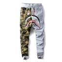Hot Popular Cartoon Shark Camouflage Printed Colorblocked Drawstring Waist Unisex Casual Joggers Sweatpants