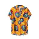 Summer Trendy Hawaiian Tropical Pattern Lapel Collar Short Sleeve Beach Shirt for Guys
