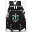 Popular University Badge Logo Patched USB Charge Students Traveling Bag Backpack 29*16*42cm