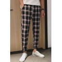 Guys New Fashion Check Pattern Trendy Casual Tapered Pants