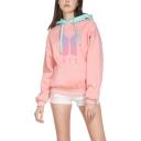 Trendy Kpop Logo Printed Pink Contrast Hood Long Sleeve Casual Loose Hoodie