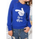 HE's MINE Letter Print Long Sleeve Round Neck Blue Pullover Sweatshirt