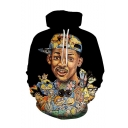 Hot Famous Celebrity Cartoon 3D Printed Black Long Sleeve Casual Loose Drawstring Pullover Hoodie