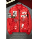 New Trendy Letter POCK AND ROLL Print Zip Closure Long Sleeve Stand Collar Baseball Bomber Jacket