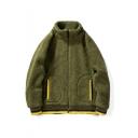Guys Winter New Stylish Simple Plain Stand Collar Long Sleeve Colorblock Zip Up Fluffy Fleece Coat