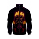 Mens Hot Style 3D Alien Printed Stand-Collar Long Sleeve Zip Placket Black Baseball Jacket