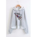 New Trendy Rocket Letter Cosmic Thrill Printed Long Sleeve Grey Pullover Loose Drawstring Hoodie