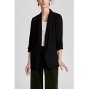 Lady's Office Work Lapel Open-Front Flap Pockets Long Sleeve Casual Blazer
