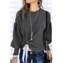 New Fashion Gray Knotted Front Lantern Sleeve Plain Sweatshirt