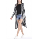 Fancy Women Open Front Stripe Printed Long Coat