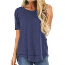 Women Summer New Style Plain Short Sleeve Round Neck Loose Casual T-Shirt
