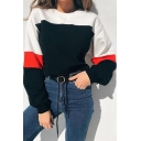 Color Block Long Sleeve Drawstring Waist Leisure Pullover Cropped Sweatshirt
