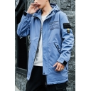 New Trendy Letter DFNZSJKF Print Long Sleeve Zip Up Casual Hooded Fitted Trench Jacket For Men