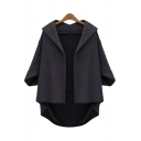 3/4 Length Sleeve Bat Wing Woolen Open Front Solid Color Short Coat