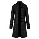 Mens Retro Long Sleeve Stand Collar Single Breasted Longline Trench Coat Overcoat