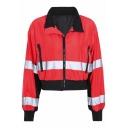 Reflect Light Stripe Zippered Pocket Lapel Collar Color-Block Cropped Zipper Jacket Coat