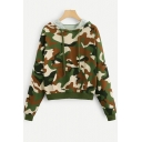 New Trendy Camouflage Print Long Sleeve Pullover Drawstring Hoodie With Pocket