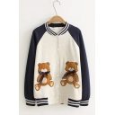 Cute Teddy Bear Embroidery with Bow Colorblocked Stand Collar Button Placket Baseball Jacket