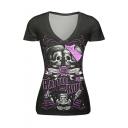 Women's Unique Halloween RATTLE ROLL Letter Skull Printed V-Neck Short Sleeve T-Shirt
